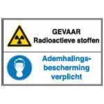BRADY 223787-Gecombineerde pictogram - Gevaar Radioactive stoffen / Ademhalingsbescherming verplicht (STN 275)-klium